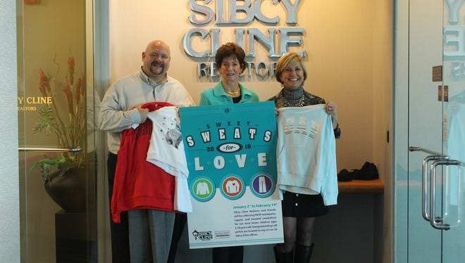 People behind the Sweet Sweats for Love campaign include: (from left) Brian Gregg from Hamilton County Job & Family Services, Pam Sibcy from Sibcy Cline and Julie Whitney of Phillippi-Whitney Communications.
