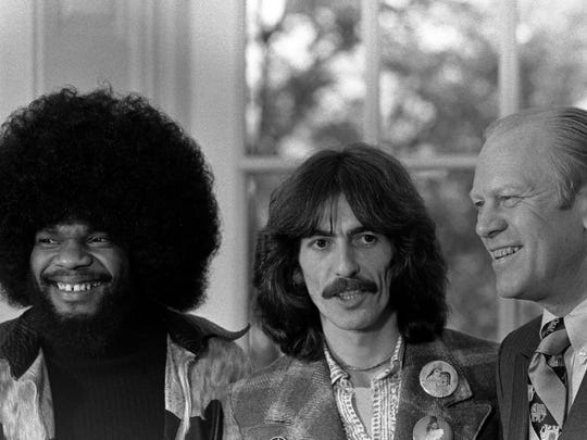 President Gerald R. Ford with George Harrison and Billy Preston in the Oval Office on December 13, 1974 in Washington, D.C.
