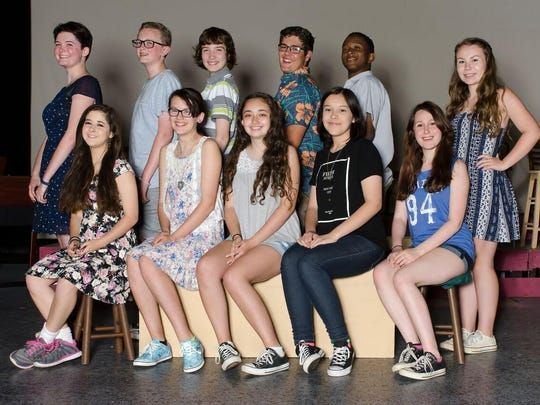 "The cast of ""Broadway's Kids"" includes, front row: Rheonna Koss, left to right, Hannah Veety, Katie Dullaghan, Lillian Salaza and Mikki Havas; back row: Maggie Roach, left to right, Billy Walker, David Frego, Scott Rolon, Devin Gibbs and Brooke Leary."