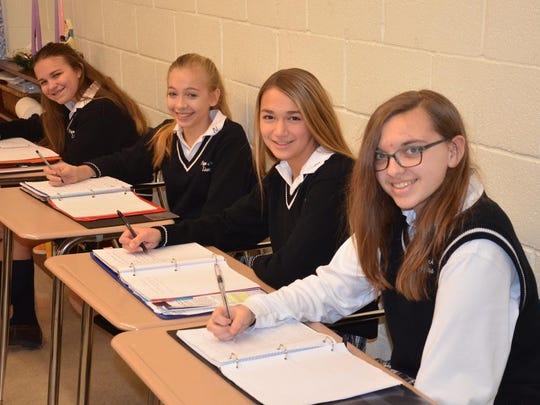 Four eighth grade students at Pope John XXIII Regional High School were selected Patriot's Pen Essay Contest winners. From left are Chloe Scharf, Amanda Scanlan, Alexa Manchak, Madison Robinson.