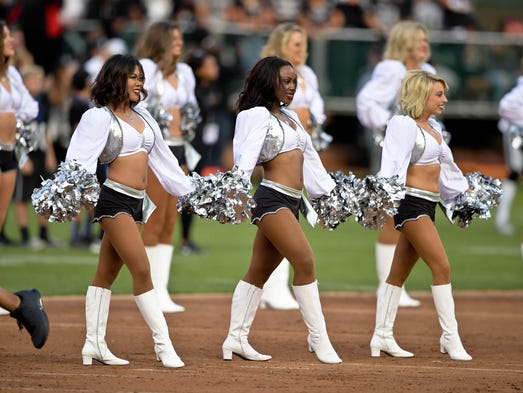 Oakland Raiders cheerleaders perform prior to a NFL
