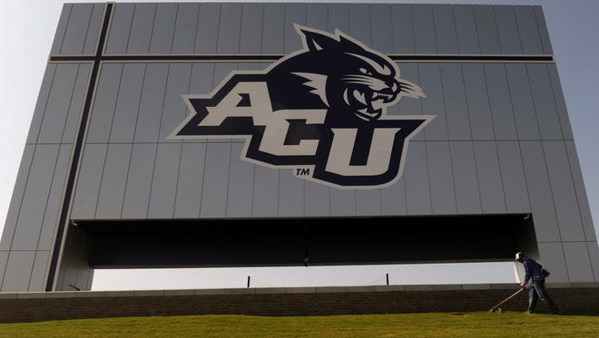 Kyler Earnest trims the grass behind the Wessel Scoreboard at Abilene Christian University's Wildcat Stadium Thursday Sept. 7, 2017. ACU will hold its first football game in the new stadium on Saturday.