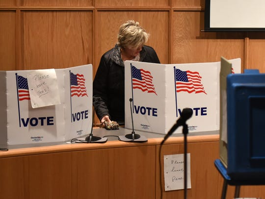 Voters cast their ballots in the city council chambers