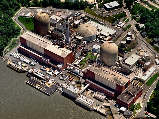 This aerial view of the Indian Point nuclear power station, taken from about 1000 feet above the ground, looks east from the Hudson River.