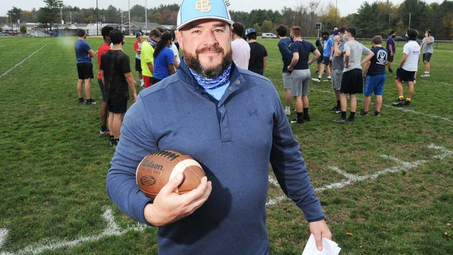 Tim Graham is East Bridgewater Junior/Senior High School's new varsity football coach during practice on Monday, Oct. 26, 2020.