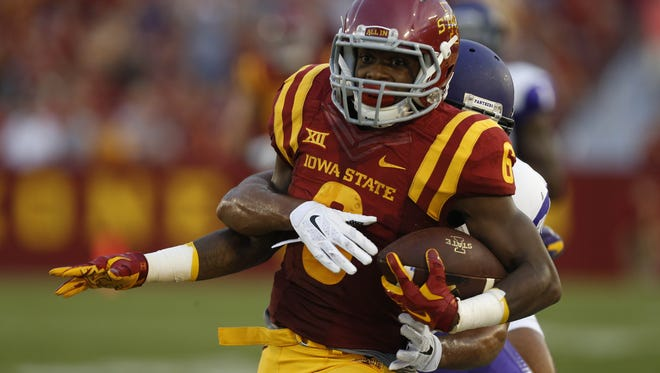 Iowa State running back Tyler Brown (6) gets wrapped up by Northern Iowa defensive back Jordan Webb (36) Saturday, Sept. 5, 2015, at Jack Trice Stadium in Ames.