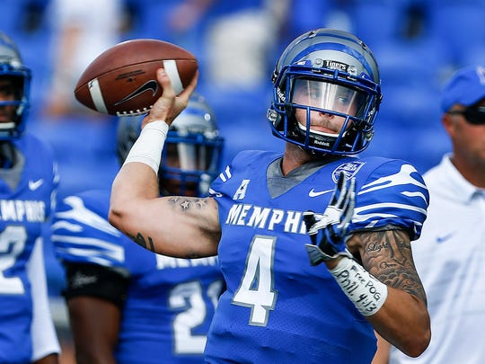 University of Memphis quarterback Riley Ferguson during pregame warm ups before taking Navy at Liberty Bowl Memorial Stadium in Memphis, Tenn., Saturday, October 14, 2017.
