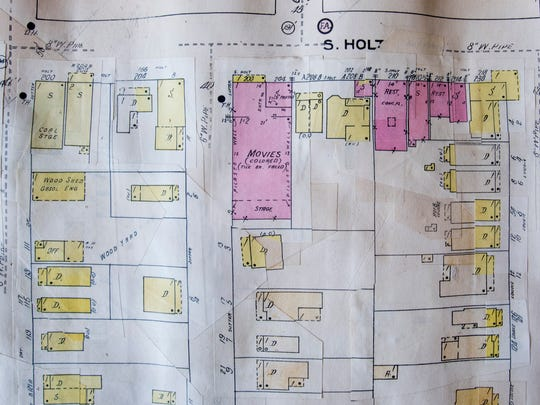 "A movie theater on Holt Street is marked ""Colored"" on the old Sanborn fire insurance maps of Montgomery, Ala., as seen at the Alabama Department of Archives and History."