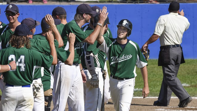 Jace Otto of the Sartell Muskies is congratulated after hitting a home run in 2016. The Muskies remain one of the top teams in the revamped Sauk Valley League, which expands to 10 clubs this season with the addition of Big Lake, Monticello and Rogers.