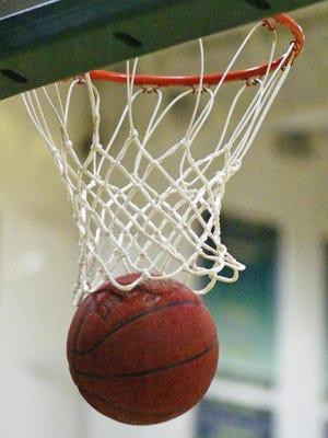 Basketball in net.