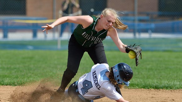 Midland Park shortstop Hannah Douma, shown covering second base in a May 2017 softball game against Paramus, led the Panthers with a .487 batting average this past spring.