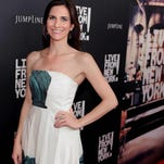 """Film producer and FSU grad Sarah Cowperthwaite walks the red carpet at The Landmark Theatres in L.A. during the West Coast premier of """"Live From New York!"""""""