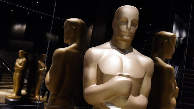 Oscar statuettes on display during the Academy Awards nominations announcement in Beverly Hills in January. The awards ceremony is Sunday.