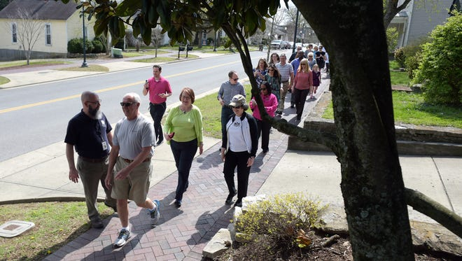 About 60 people joined Franklin Mayor Ken Moore during his Walk with the Mayor event in downtown Franklin on Wednesday, March 29, 2017. In 2016, Franklin was named a Healthier Tennessee pilot community in conjunction with Franklin Tomorrow's Get Fit Franklin project.