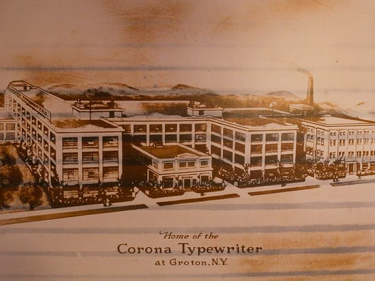 A poster of the Corona Typewriter Factory, constructed in 1915 and demolished in 1984.