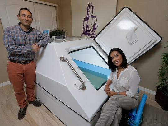 Federico Sanchez and Koryna Herrera are the owners of Desert Float Center, a home-based business in Northwest El Paso.