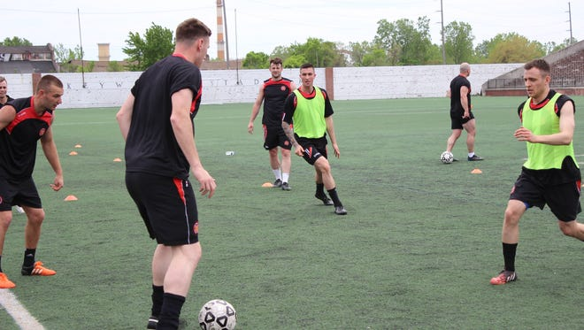 FC United of Manchester players practice Friday at Keyworth Stadium ahead of Saturday's match against Detroit City FC.