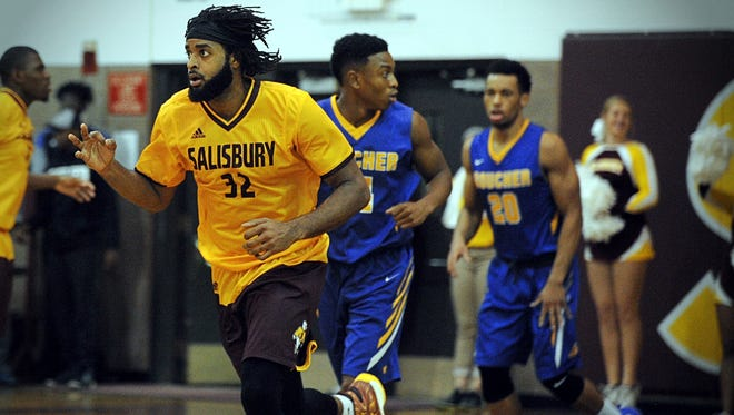 Salisbury senior Wyatt Smith jogs back on defense after the Sea Gulls hit a three-pointer in a game vs. Goucher on Thursday, Nov. 15, 2016 in Maggs Gym.