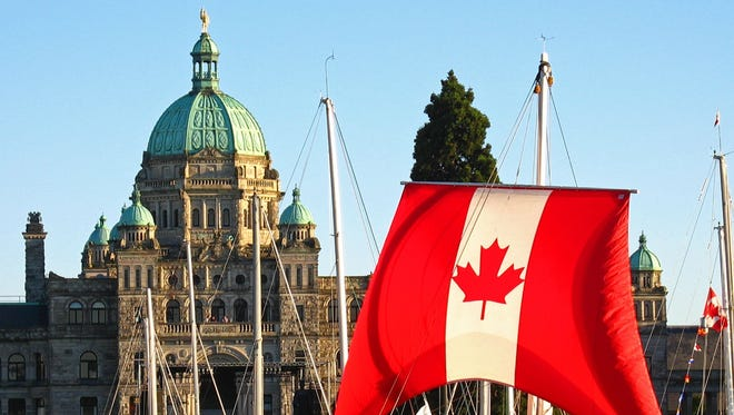 Canada Day in Victoria's Inner Harbour, with the British Columbia Parliament Buildings in the background.