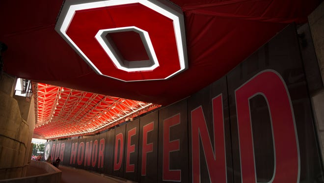 General view of the newly constructed field entrance prior to the game between the Virginia Tech Hokies and Ohio State Buckeyes the at Ohio Stadium.