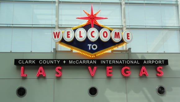 A welcome sign at Las Vegas McCarran International