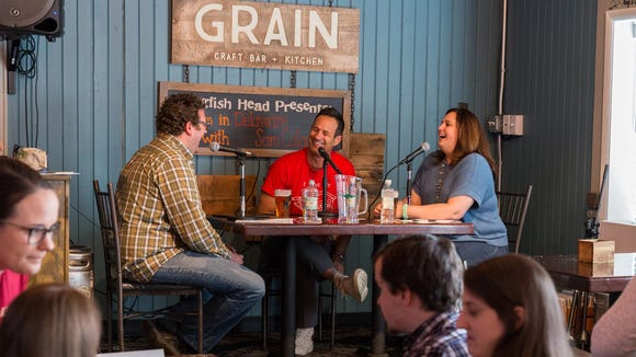 "Dogfish Head founder Sam Calagione guests on The News Journal's ""Hi I'm In Delaware!"" podcast at Grain Craft Bar + Kitchen in Newark on Wednesday, April 20."
