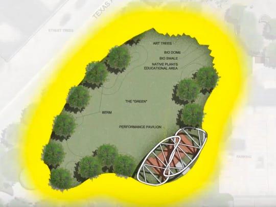 The design for Caddo Common Park by the Caddo Common Design TeamLandscape Architects:  Katie Martin, Jerome NicholasVisual Artists:  Bruce Allen, Jim HayesPerformance Artist:  Brady BladeArchitect:  Mike McSwainCivil Engineer:  Kurt NixonElectrical Engineer:  Barry Ypya