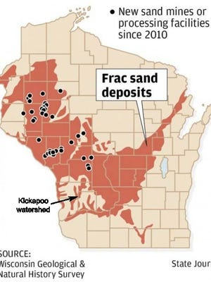 Frac sand deposits in Wisconsin