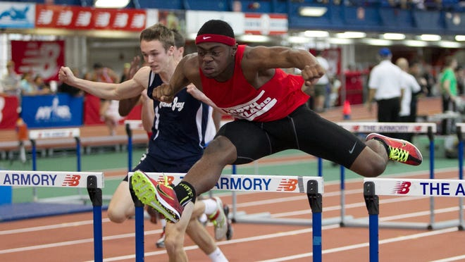 North Rockland's Tarique Wilson wins the 55-meter hurdles with a time of 7.95 seconds at the Section 1 Kickoff 2 indoor track and field meet Sunday at The Armory in New York.