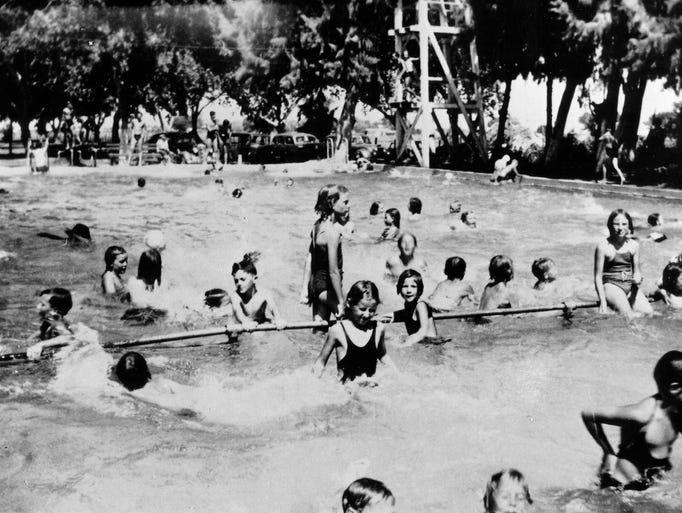 Chandler Public Pool early 1940's  NW corner of Frye