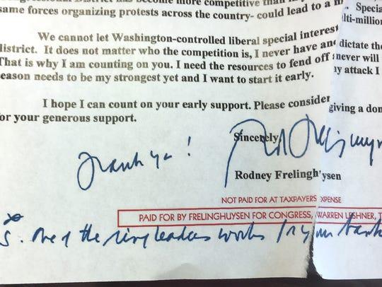 Congressman Rodney Frelinghuysen wrote a fundraising