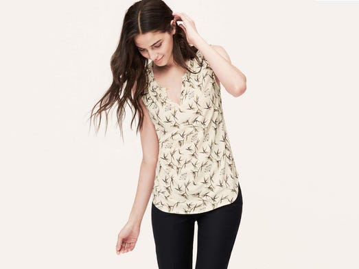 Add a dash of daring with keyhole cutouts. Blossom print keyhole shell, $54.50 at Loft.  (Gannett/File)