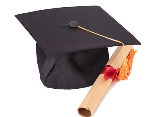 GRAD CAP AND DIPLOMA STOCK IMAGE