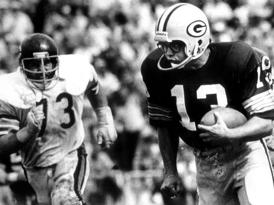 1980: Packers kicker Chester Marcol runs for a touchdown after picking up the football on a blocked field goal against the Bears.