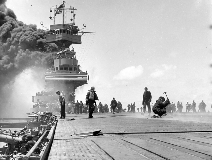 The USS Yorktown after three Japanese bombs struck