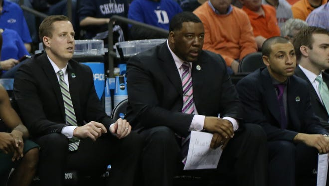 Michigan State assistant coach Dane Fife, associate head coach Dwayne Stephens and video coordinator Brett Ferguson.