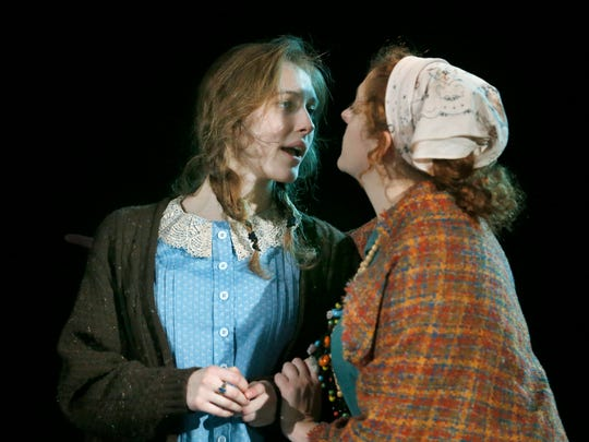 """Kit Prelewitz (Nellie Collins) and Emily Mullin (Miss Jane) rehearse a scene of """"Floyd Collins."""""""
