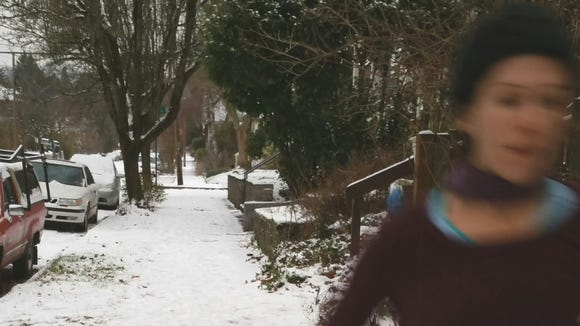 Running in the snow.
