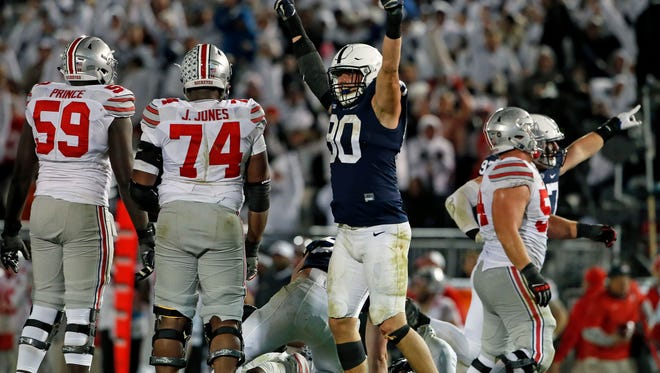 Has a Penn State defensive lineman ever played a more dominant third quarter than Garrett Sickels (90) did against Ohio State? He shrugged off a suspension to do it.