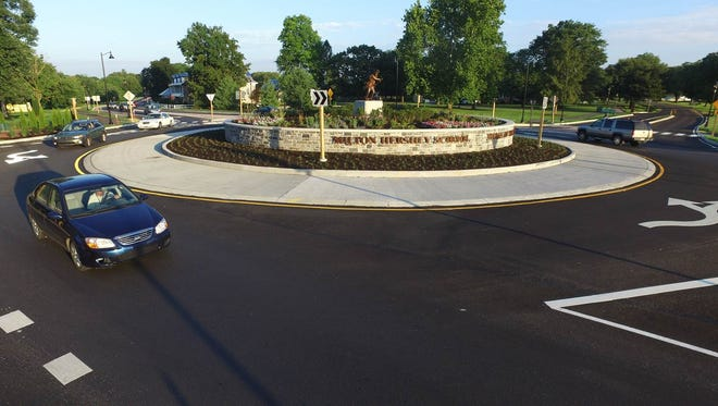Traffic moves through a roundabout on Route 322 in Derry Township.
