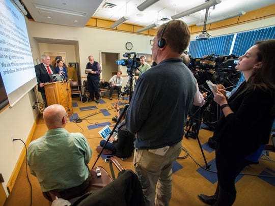 Middlebury Police Chief Tom Hanley gives an update on the department's investigation of possible links between Robert Durst and the 1971 disappearance of Middlebury College student Lynne Schulze at a news conference on Tuesday, March 24, 2015.