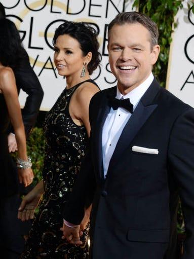 Matt Damon arrives at the 71st annual Golden Globe Awards at the Beverly Hilton Hotel on Sunday, Jan. 12, 2014, in Beverly Hills, Calif.