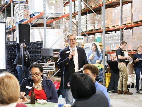 Rick Minor, CEO of Second Harvest, speaks at the 'Bluejeans