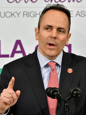 "Kentucky Gov. Matt Bevin addresses the audience gathered before ceremonially signing two pro-life measures during the Kentucky Right to Life Association's annual ""Rally for Life"" in the Capitol Rotunda, Wednesday, Feb. 8, 2017, in Frankfort, Ky. Bevin is scheduled to deliver his State of the Commonwealth address to a joint session of the state House and Senate on Wednesday beginning at 7 p.m. EST. (AP Photo/Timothy D. Easley)"