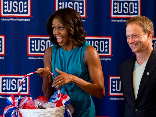 Michelle Obama and Gary Sinise