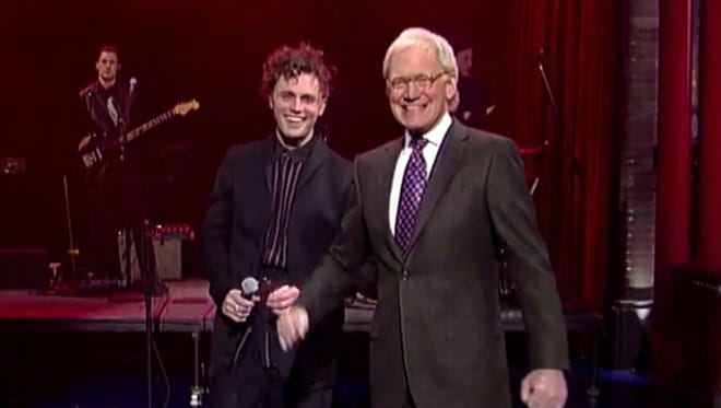 "Mikky Ekko with David Letterman on his ""Late Show"""