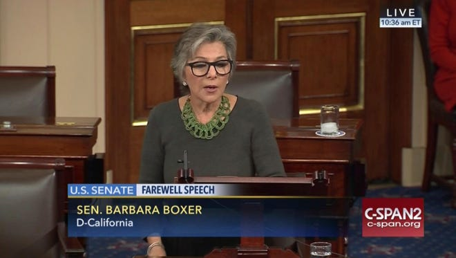 This image provided by C-SPAN2 shows Sen. Barbara Boxer, D-Calif. giving her farewell speech on the Senate floor on Capitol Hill in Washington, Wednesday.