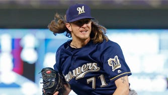 Brewers ace reliever Josh Hader retires seven of the eight Twins he faces on Saturday night with six coming via the strikeout route.