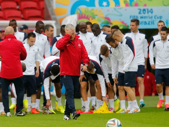 France's soccer team head coach Didier Deschamps gestures during an official training at the Estadio Beira-Rio in Porto Alegre, Brazil, Saturday, June 14, 2014. France will play in group E of the World Cup. (AP Photo/David Vincent)
