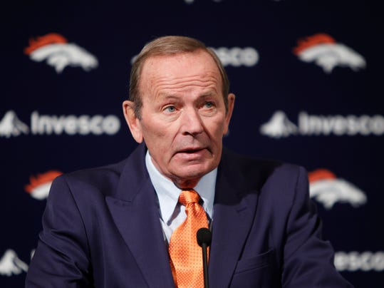 FILE - This Jan. 5, 2011 file photo shows Denver Broncos owner Pat Bowlen talking about Hall of Fame quarterback John Elway, who he named Executive V.P. of football operations during a news conference at the team's headquarters in Englewood, Colo. Bowlen is giving up control of the team as he battles Alzheimer's disease. The team announced Wednesday, July 23, 2014 that the 70-year-old Bowlen will no longer be a part of the team's daily operations. (AP Photo/ Ed Andrieski, File)